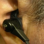 BlueBuds X in ear, down position