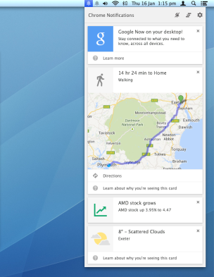 Google Now on desktop