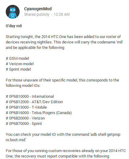 CyanogenMod announcement for the M8
