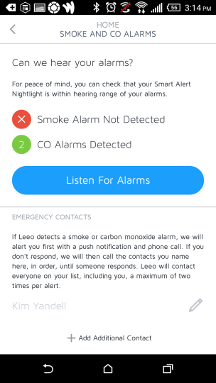 Leeo Smart Alert Nightlight alarm checking