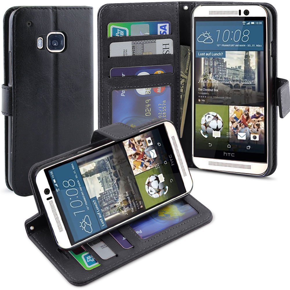 Lightning Knight HTC One M9 Leather Flip Case with kickstand