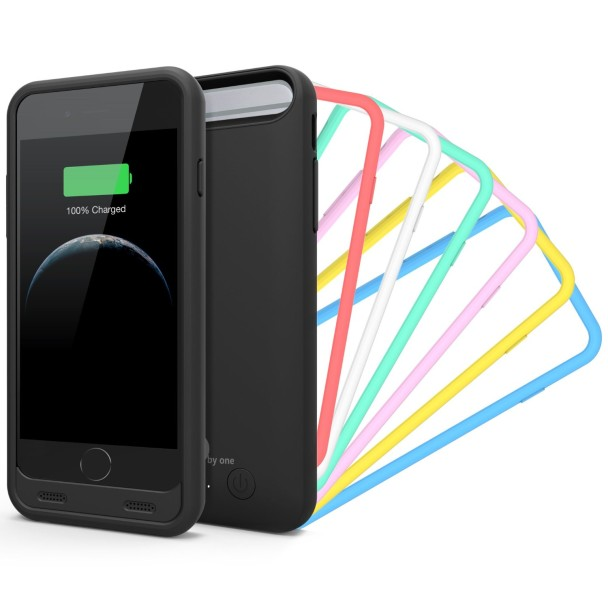 1byone® iPhone 6 Battery Case, Black Housing with Rainbow Frames [7 Colors] - 3100mAh Rechargeable Protective Charging Case