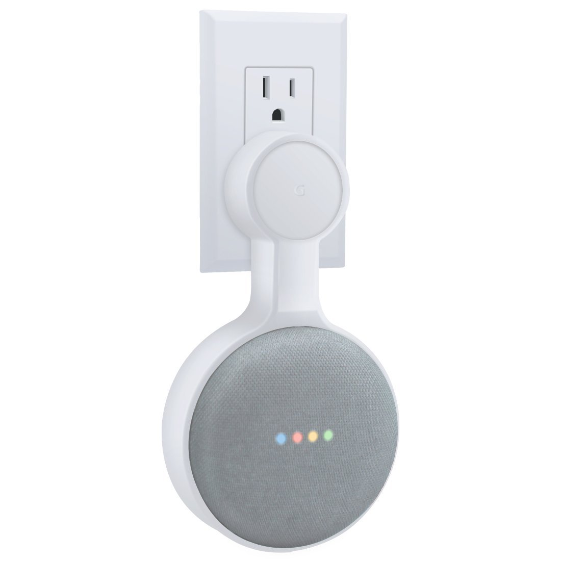 AMORTEK Outlet Wall Mount Holder for Google Home Mini, A Space-Saving Accessories for Google Home Mini Voice Assistant