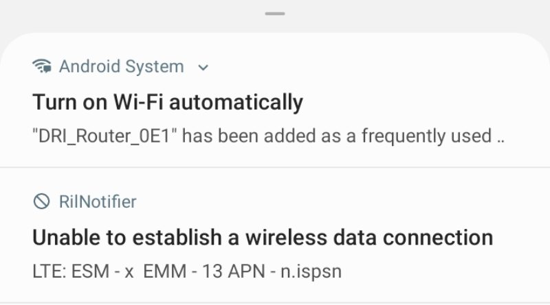 Unable to establish a wireless data connection LTE: ESM - x EMM - 13 APN n.ispsn